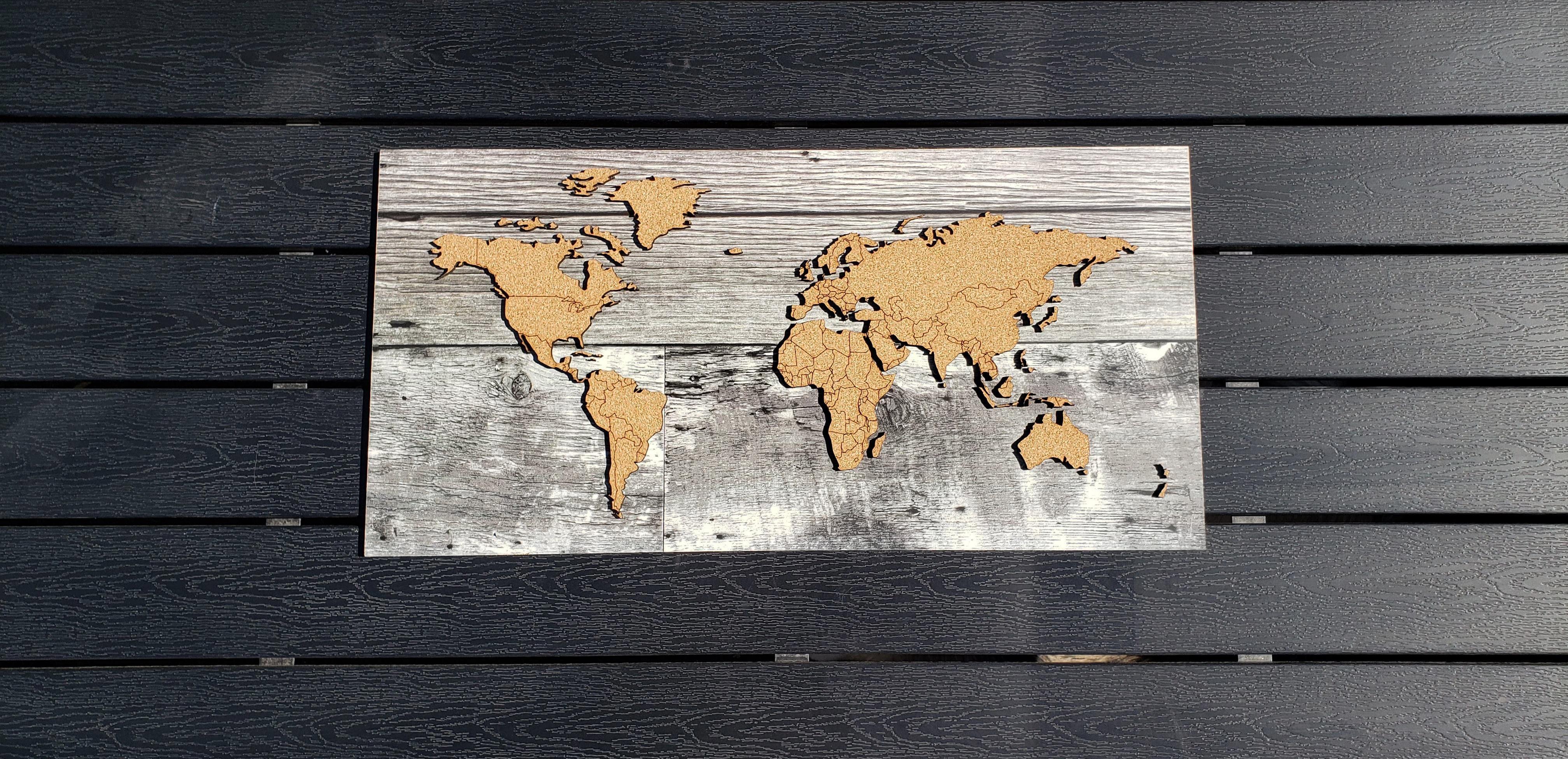 WHOLESALE Push Pin Travel Map - Barn Wood Veneer - Country Borders LARGE