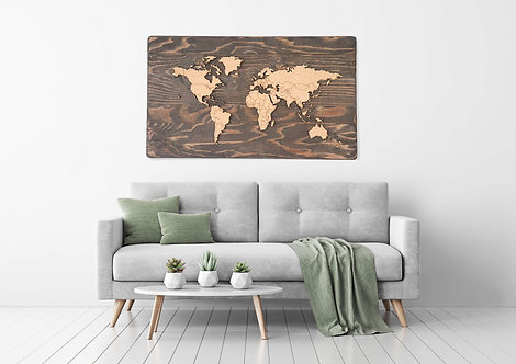 "Espresso - Push Pin Travel Map - 48"" x 27"""