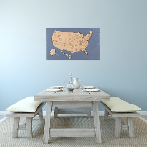 "WHOLESALE United States Push Pin Travel Map - Charcoal Blue - 24"" x 14"""
