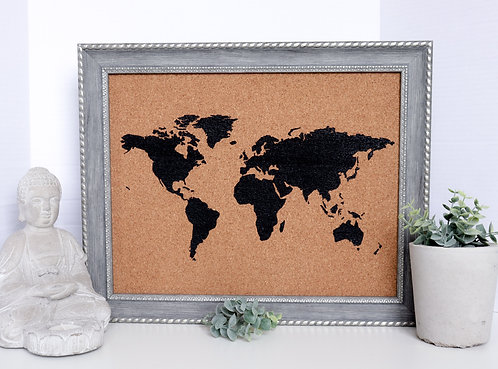 Traveler's Journey Pin Map - Silver Crown Frame - Large