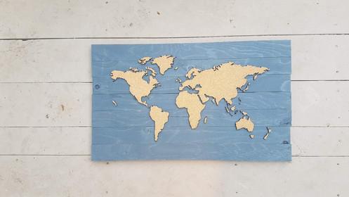 WHOLESALE Traveler's Journey Pin Map - Slatted Wood & Cork - LARGE on