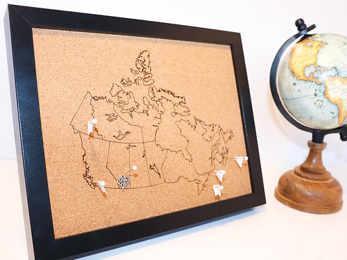 "Canadian Road Trip Pin Map - Black Frame - 8""x10"""