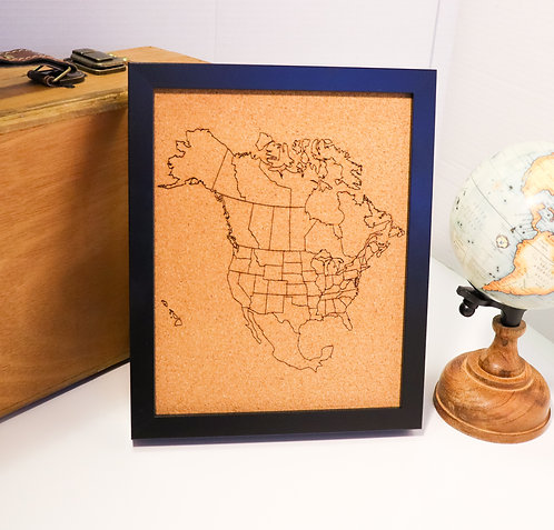 "North America Pin Map - Black Frame - 8""x10"""