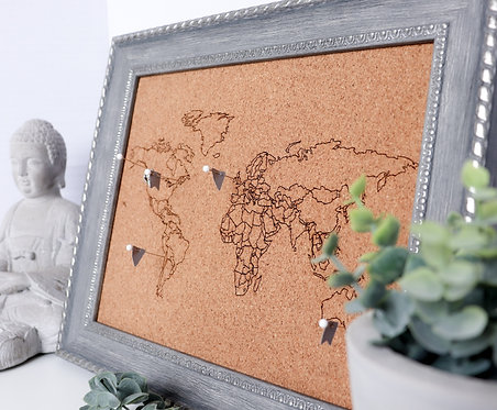 AMBASSADOR Engraved Cork Map - For Framed Maps