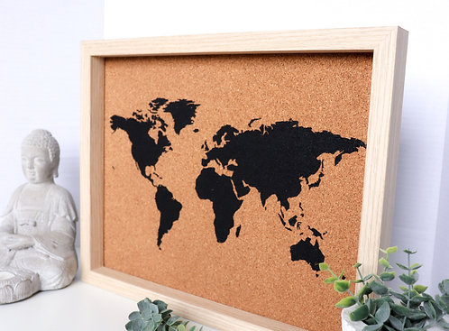 AMBASSADOR Black Painted Cork Map - For Framed Maps - Small & Large