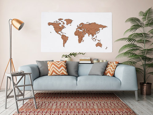 "WHOLESALE Push Pin Travel Map - Matte White - 48"" x 27"""
