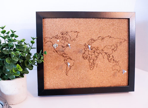 Traveler's Journey Pin Map - Rastered - Black Frame - SMALL
