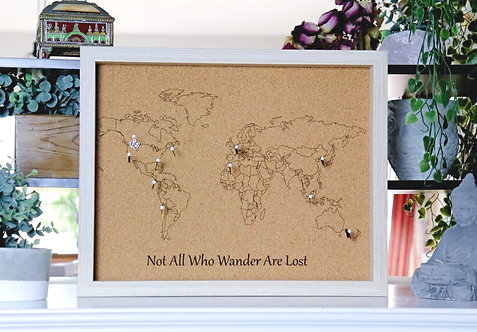 Not All Who Wander Are Lost - Travel Pin Map - Light Wood Frame