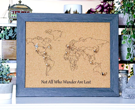 Not All Who Wander Are Lost - Travel Pin Map - Charcoal Wood Frame