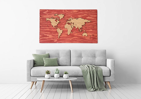 "Push Pin Travel Map - Sedona Red - 48"" x 27"""