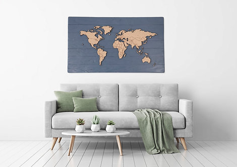 """WHOLESALE Traveler's Journey Pin Map - Charcoal Blue - 48"""" x 27"""""""