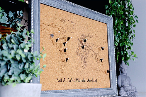 Not All Who Wander Are Lost - Travel Pin Map - Crown Frame