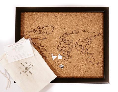 Traveler's Journey Pin Map - Rastered - SMALL - Economical Frame