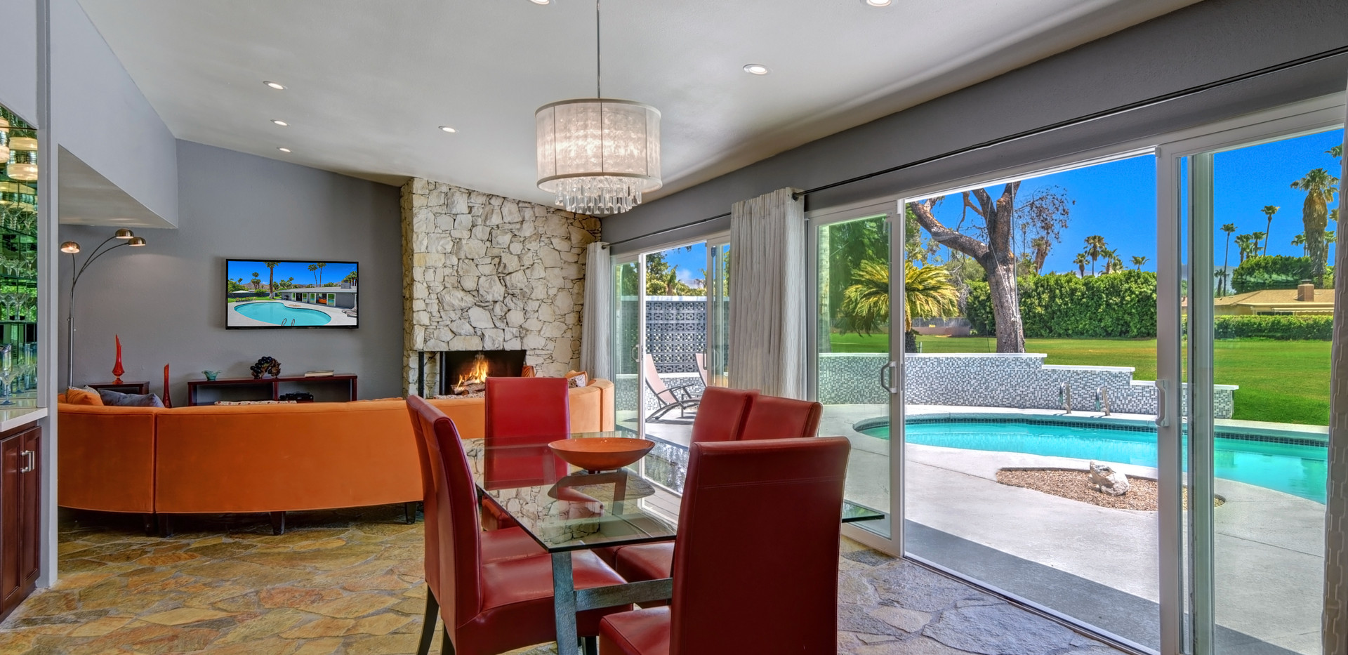 DINING ROOM TO LIVING ROOM AND POOL WITH