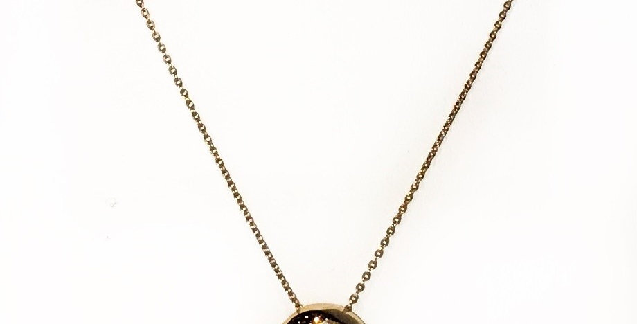 Moderne 14K Gouden Collier Met Ronde Hanger Gevuld Met Diamant