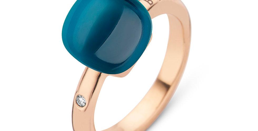 Bigli Mini Sweety Ring met Blauwe Topaas en parelmoer