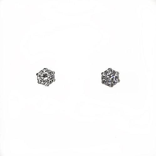 14 krt. Witgouden oorstekers met 2 briljant geslepen diamanten