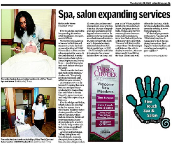 Wilson Daily Times - May 28, 2013 - Five Touch Spa & Salon
