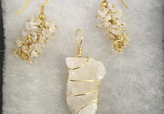 Quartz Crystal Pendant & Earrings