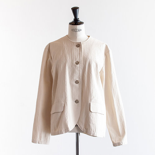 Cotton Herringbone Nocollar Jacket