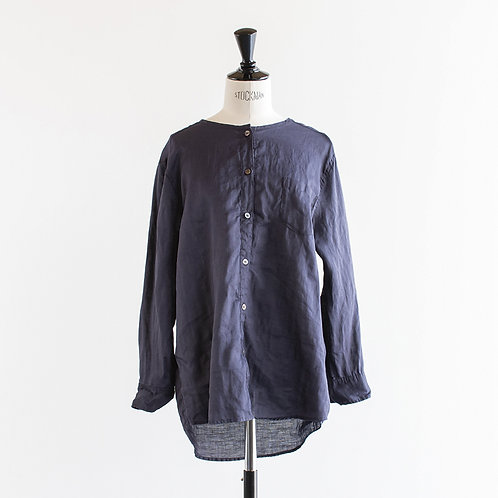Ramie Linen No Collar Blouse