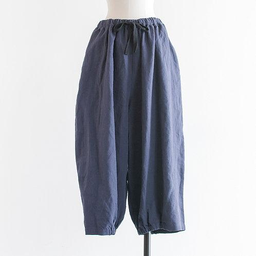 Linen Chambray Hem Gather Ballon Pants