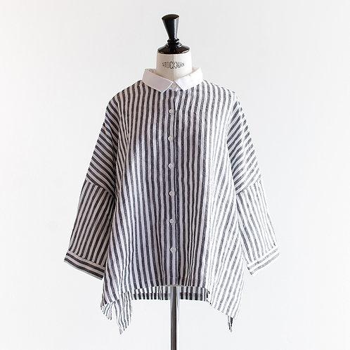 Linen Stripe Wide Cleric Shirt