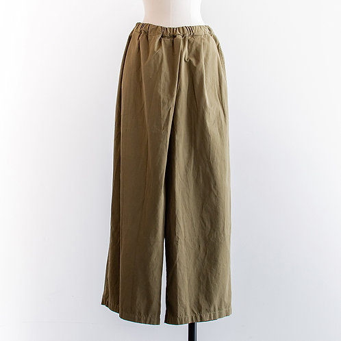 Cotton Twill Tuck Wide Pants