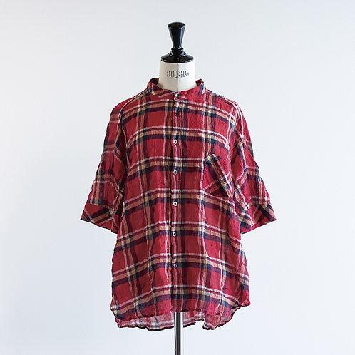 Cotton Check Band Collar Shirts