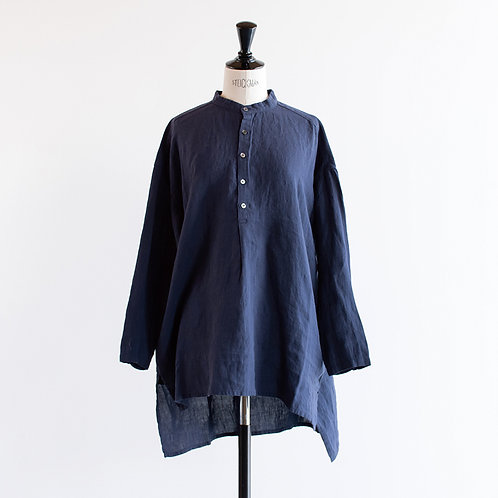 Linen Stand Collar Henley Neck Blouse