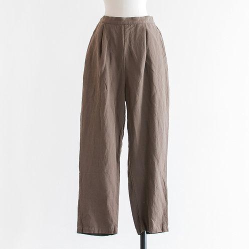 Cotton Linen Twill Tuck Tarpered Pants