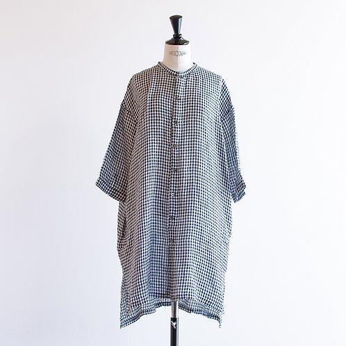 Linen Gingham Bandcollar Shirts Onepiece