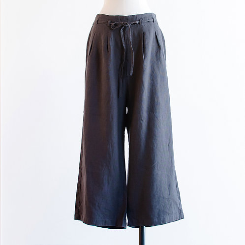 Linen Waist Ribbon Tuck Waide Pants