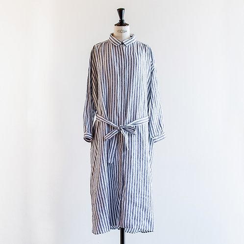 Linen Stripe Waist Ribbon Shirts Onepiece