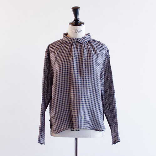 Linen Gingham Collared Pullover
