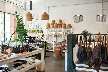 Interior of a stylish boutique full of a