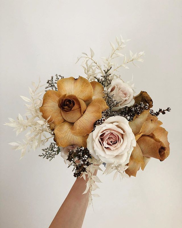 A hand-tied bridal bouquets can be on th