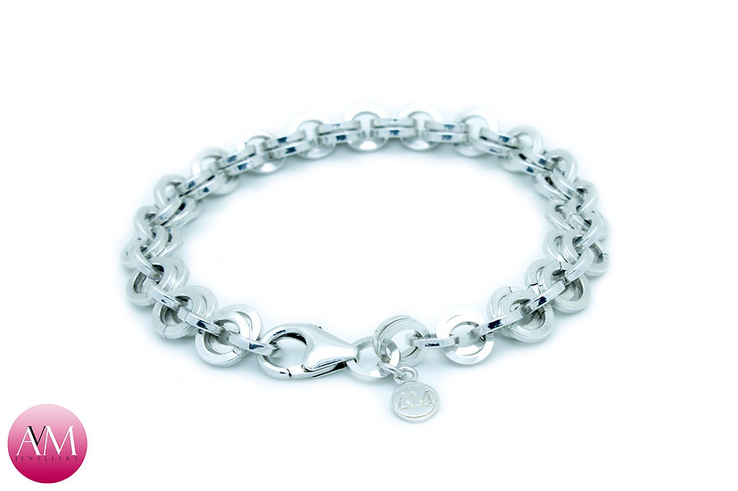 Extra Heavy Sterling Silver 2in1 Chain Bracelet in Square Wire