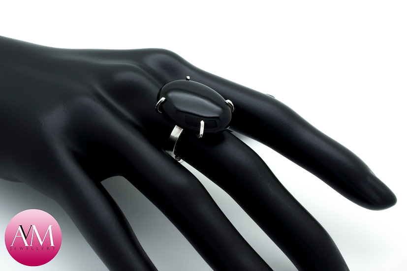 Oval Black Onyx & Sterling Silver Ring