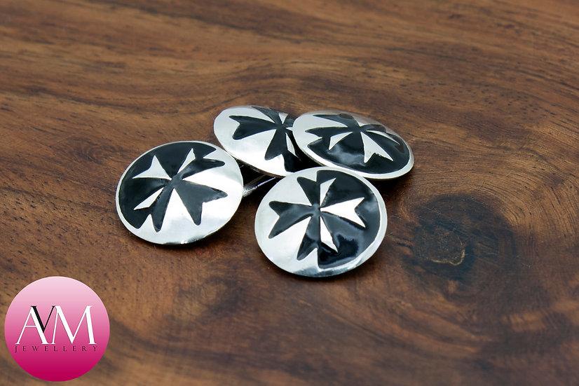 Sterling Silver Maltese Cross Double Cufflinks [Pattern 03Black]