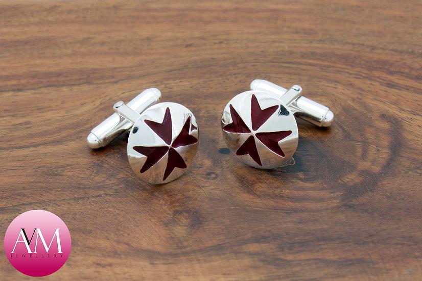 Sterling Silver Maltese Cross Button Cufflinks [Pattern 01Red]