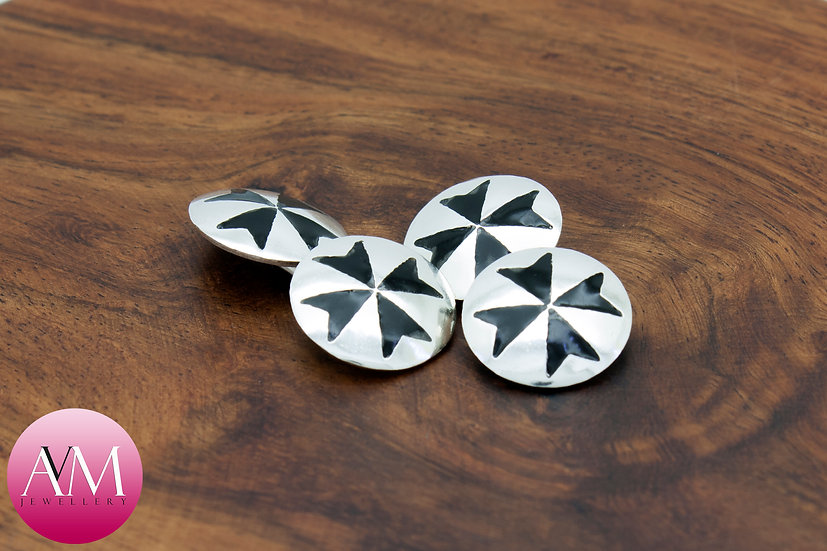 Sterling Silver Maltese Cross Double Cufflinks [Pattern 01Black]