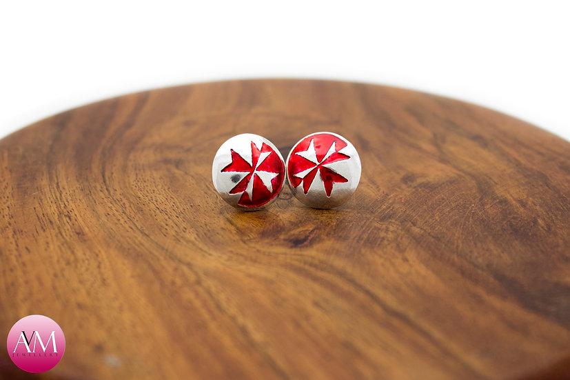 Sterling Silver Maltese Cross Earrings [#03 Red]