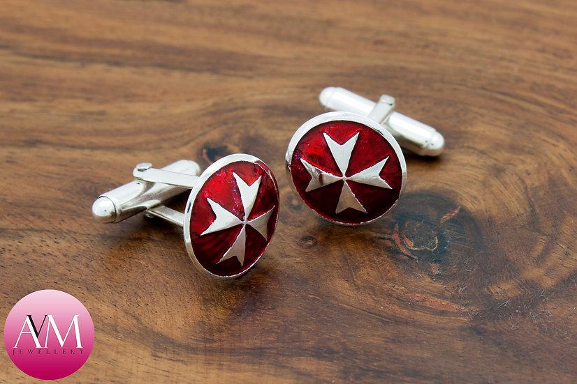 Sterling Silver Maltese Cross Button Cufflinks [Pattern 02Red]