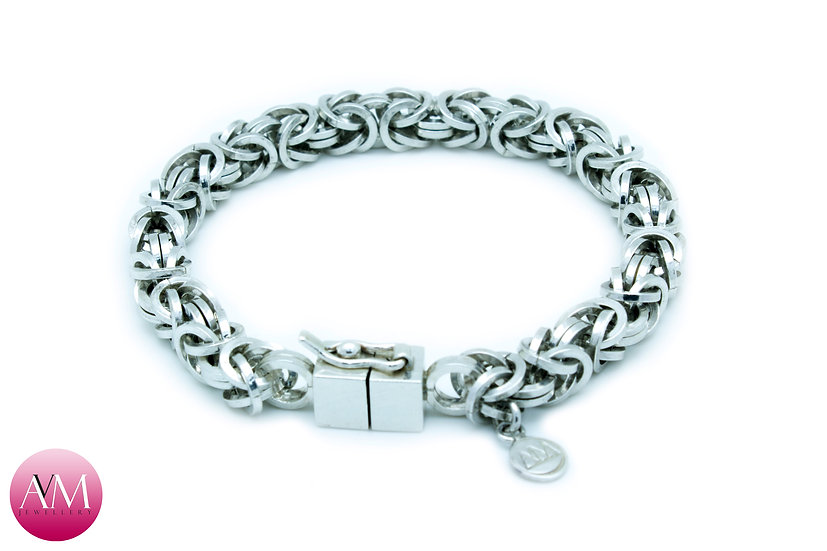 BRIGHT HONOUR - Heavy Sterling Silver Byzantine Bracelet
