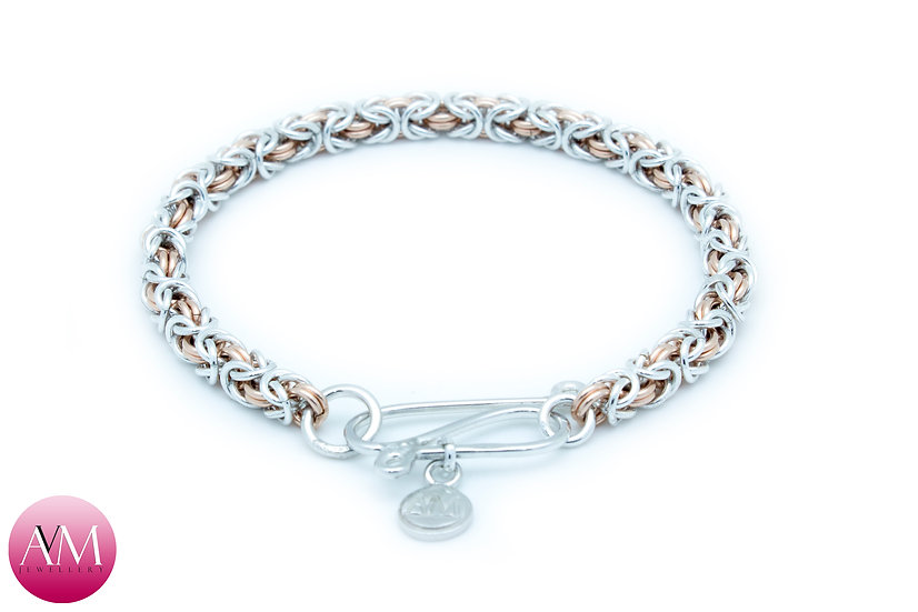Delicate Byzantine Bracelet in Rose Gold Fill & Sterling Silver