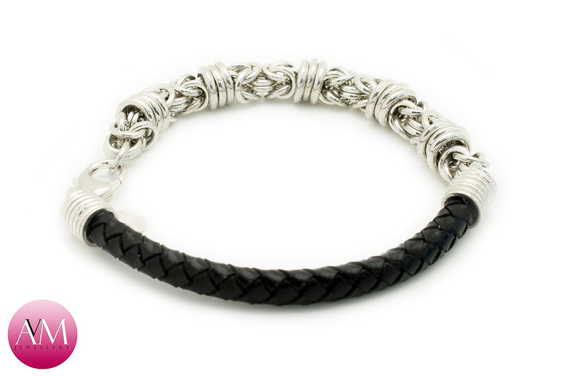 BARBED WIRE Extra Heavy Sterling Silver Byzantine Bracelet on Braided Leather