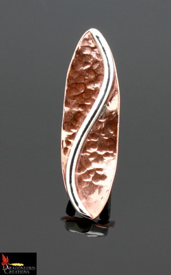 No472 Silver S & Copper Spiral ring