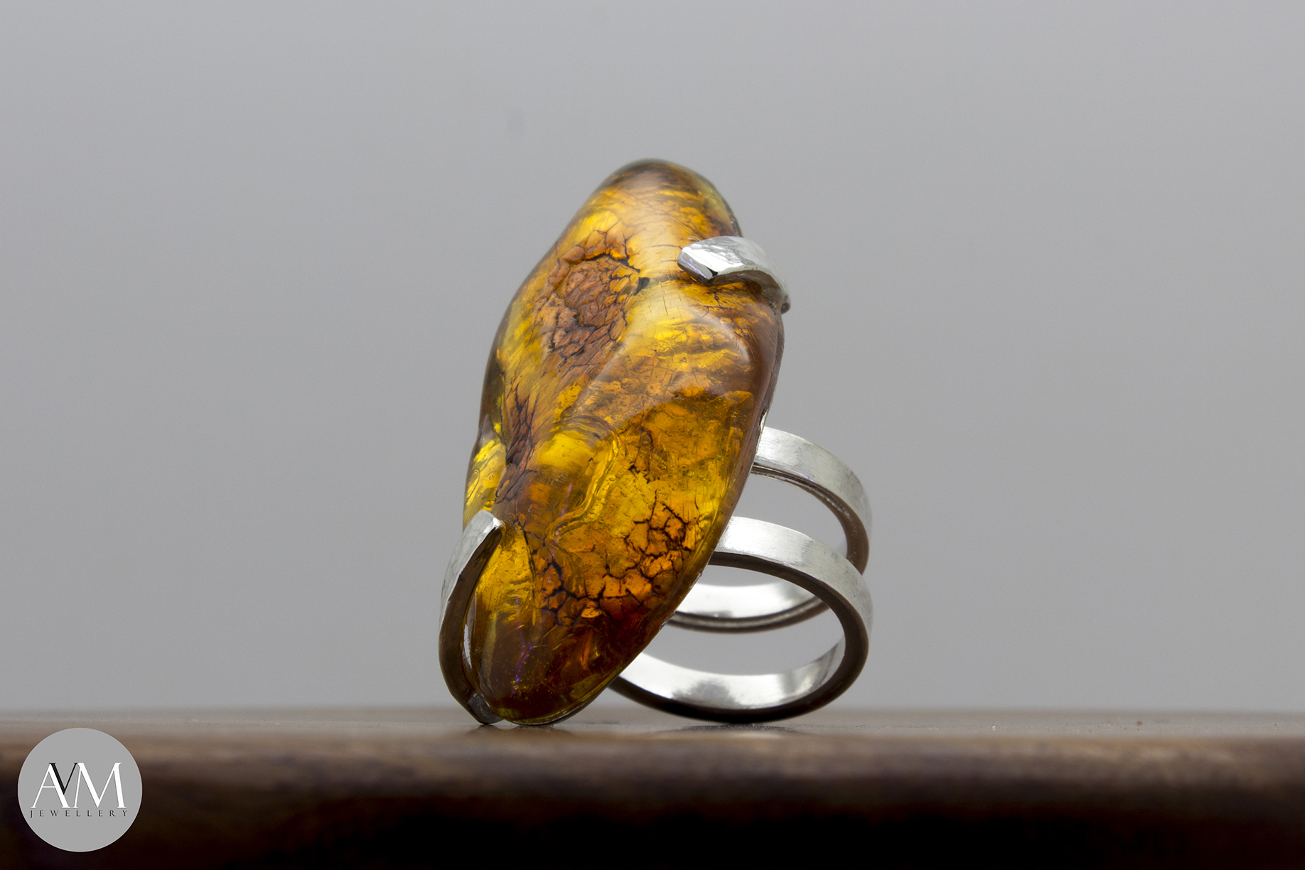 C.O. Amber Ring Small by AVM Jewellery