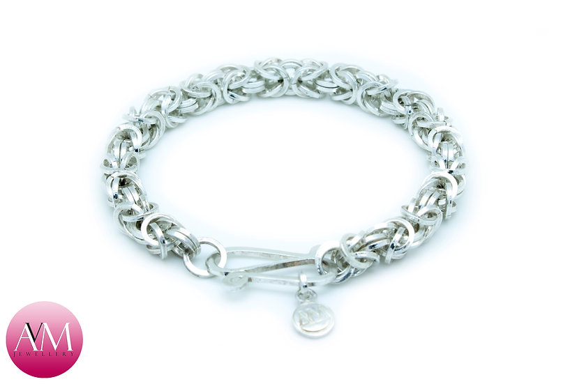 Sterling Silver Byzantine Bracelet in Square Wire